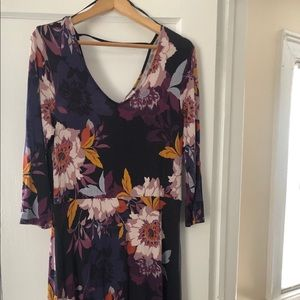 Multi tropical floral long dress